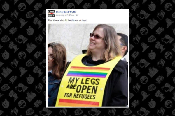 "Was a Woman Wearing a Sign in a Rally, ""My Legs are Open for Refugees""?"